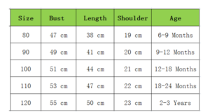 toddler boy outfit size chart